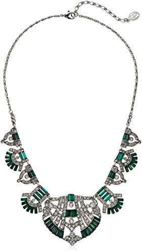 Swarovski Ben-Amun Jewelry Crystal Deco Emerald Fan Pendant Necklace For Bridal Wedding Anniversary