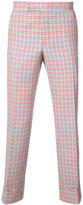Thom Browne Mid-Rise Unconstructed Backstrap Trouser In Hopsack Check Double Woven Wool Crepe With Red, White And Blue Stripe Back
