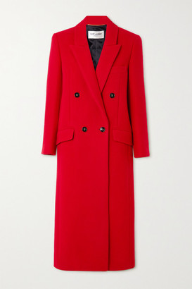 Saint Laurent Double-breasted Cashmere And Wool-blend Coat - Red