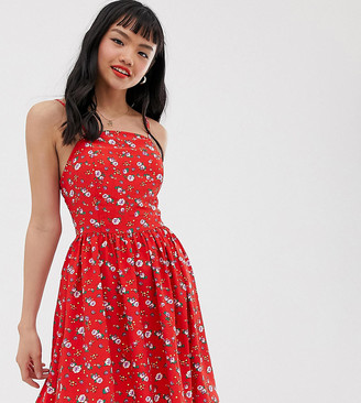 Glamorous Petite cami dress with tie back in ditsy floral-Red