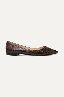 Prada Croc-effect Leather Ballet Flats - Brown
