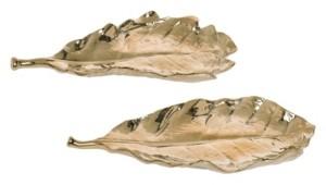 Transpac Trans Pac Dolomite Gold Harvest Leaf Plate - Set of 2