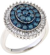 1ctw Blue and White Diamond Baguette Framed Sterling Silver Ring