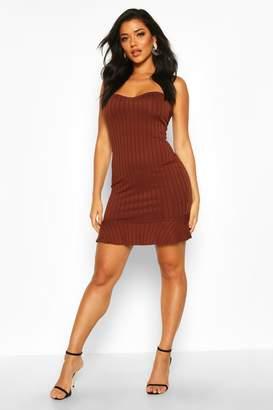boohoo Rib Bandeau Frill Hem Mini Dress