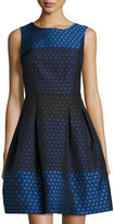 Donna Ricco Fit-and-Flare Honeycomb Jacquard Dress, Blue/Navy/Black