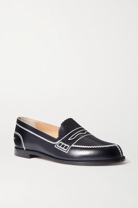 Christian Louboutin Mocalaureat Printed Leather Loafers - Navy