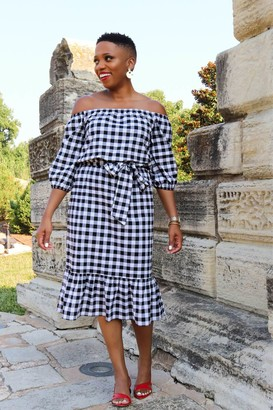 Gibson x Economy of Style Off the Shoulder Tie Waist Check Dress