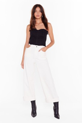 Nasty Gal Womens Try It Cut-Out Wide-Leg Trousers - white - L