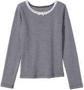 Joe Fresh Kid Girls' Stripe Ribbed Tee, Navy (Size M)