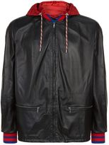Gucci Striped Cuff Leather Bomber Jacket