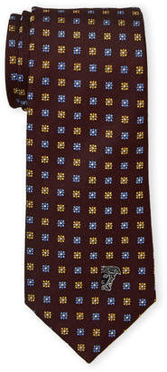 Versace Red Silk Square Floral Pattern Tie