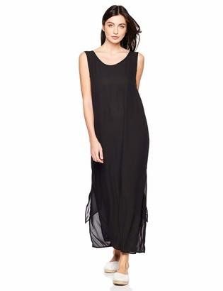 Elise Bloom Women's Round Neckline Loose Vest Style Long Cut Beach Long Casual Dress Black Large