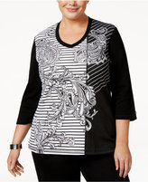 Karen Scott Plus Size Mixed-Print Embellished Top, Only at Macy's