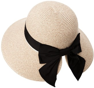 Fancet Womens Straw Sun Hat Fedora Summer Beach Accessories Wide Brim Packable Panama Cloche Ponytail Beige