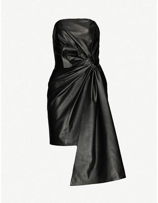 16Arlington Matsuko strapless leather mini dress