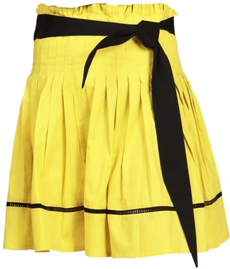 Maraina London Laura Yellow Pleated Mini Skirt
