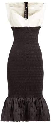 Emilio De La Morena Shirred Polka-dot Jacquard Midi Dress - Womens - Black White