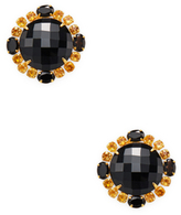 Bounkit Faceted Onyx & Citrine Stud Earrings