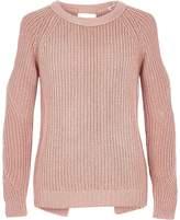 River Island Girls Pink lurex knit cold shoulder jumper