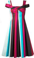 Paule Ka pleated striped dress