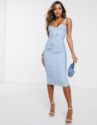 Asos DESIGN premium bandage suspender clips midi dress in blue