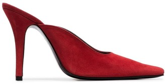 Dorateymur red Groupie 100 suede pointy toe mules