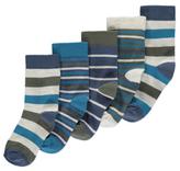 George 5 Pack Striped Ankle Socks