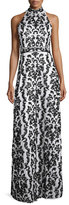 Alice + Olivia Makeena Embellished Lace Gown, Black/White