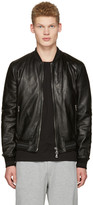 Dolce & Gabbana Black Washed Leather Bomber Jacket