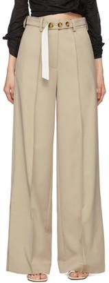 Rokh Beige Long Split Leg Trousers