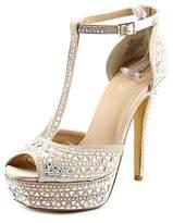 Thalia Sodi Flor Women Open Toe Canvas Gold Platform Sandal.