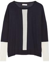 Chinti and Parker Tow-tone Merino Wool Sweater - Navy