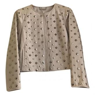 Diane von Furstenberg Ecru Leather Leather jackets