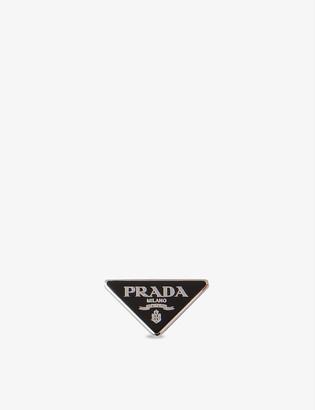 Prada Branded enamel and sterling-silver brooch