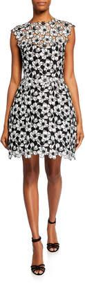 Monique Lhuillier Guipure Lace Cocktail Dress