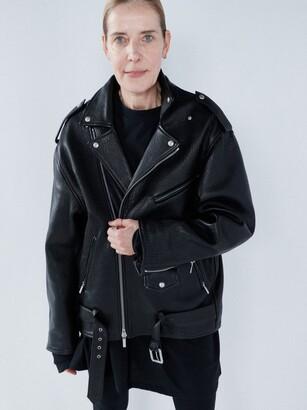 Raey Oversized Tumbled-leather Biker Jacket - Black