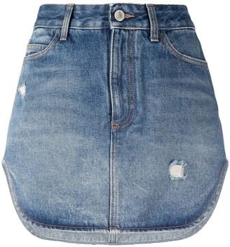 ATTICO High-Rise Asymmetric Denim Short Skirt
