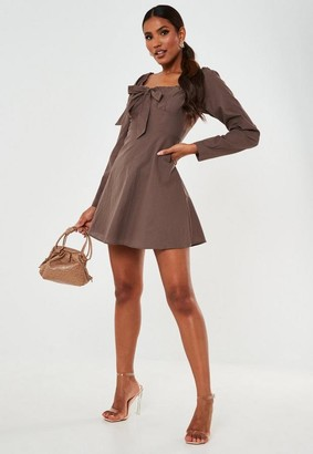 Missguided Chocolate Tie Front Milkmaid Mini Dress