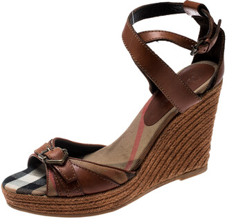 Burberry Brown Leather And Canvas Espadrille Ankle Wrap Wedge Platform Sandals Size 40