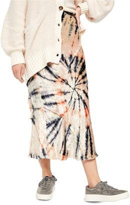 Free People Serious Swagger Tie Die Velvet Skirt