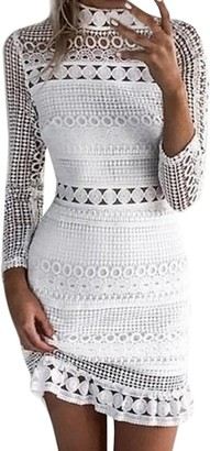 DEELIN Fashion Womens Sexy Lace Solid Long Sleeve Bodycon Cocktail Party Club Pencil Midi Dress Bandage Dresses(White S)