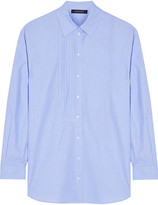 Cédric Charlier Oversized Pintucked Cotton-chambray Shirt - Sky blue