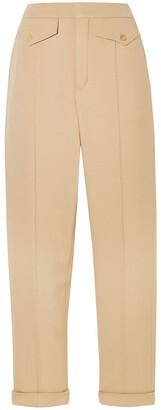 Chloé Pleated Wool-blend Twill Straight-leg Pants