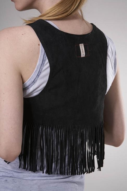 Gypsy 05 Hippie Suede Fringe Vest in Black