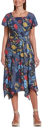 Rafaella Women's Mixed-Print Pleated Midi Dress