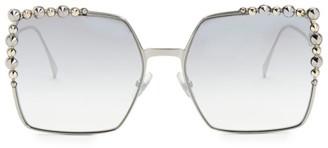 Fendi 60MM Oversized Crystal-Trim Square Sunglasses