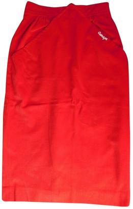 Courreges Red Velvet Skirt for Women Vintage