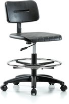 "Perch Industrial Work Chair with Footring 20"" - 28"" (Soft Floor Casters)"