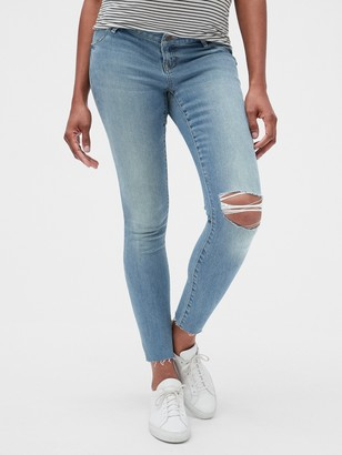 Gap Maternity Soft Wear Inset Panel True Skinny Jeans with Distressed Detail