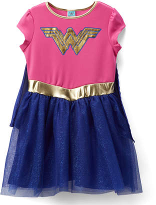 Jerry Leigh Girls' Casual Dresses PINK/BLUE - Wonder Woman Pink & Blue Cape-Accent A-Line Dress - Girls